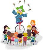 Unicycle Clown — Stock Photo