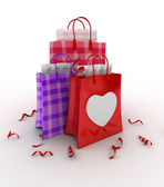 Valentine-themed Shopping Bags — Stock Photo