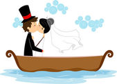 Newlyweds Kissing in a Boat — Stock Photo