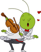 Grasshopper Playing the Violin — Stock Photo