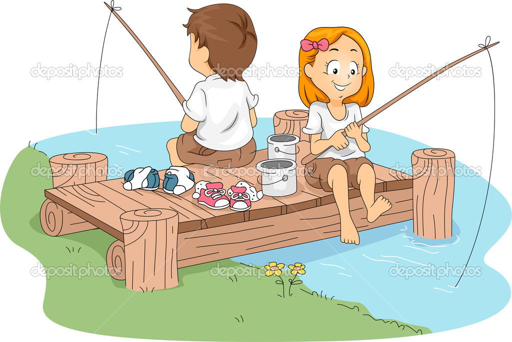 Illustration of Kids Fishing — Stock Photo #7475333