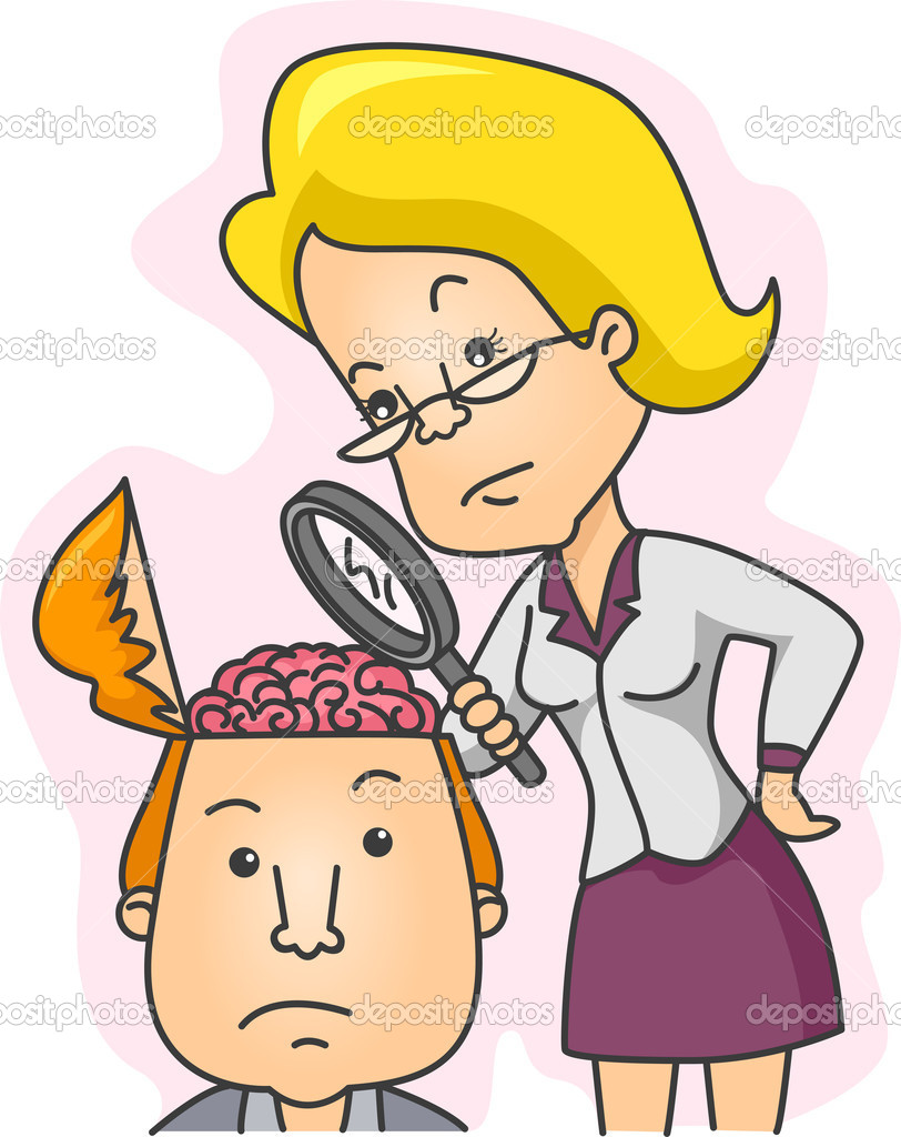 Illustration of a Woman Examining the Contents of a Man's Head — Stock Photo #7475502