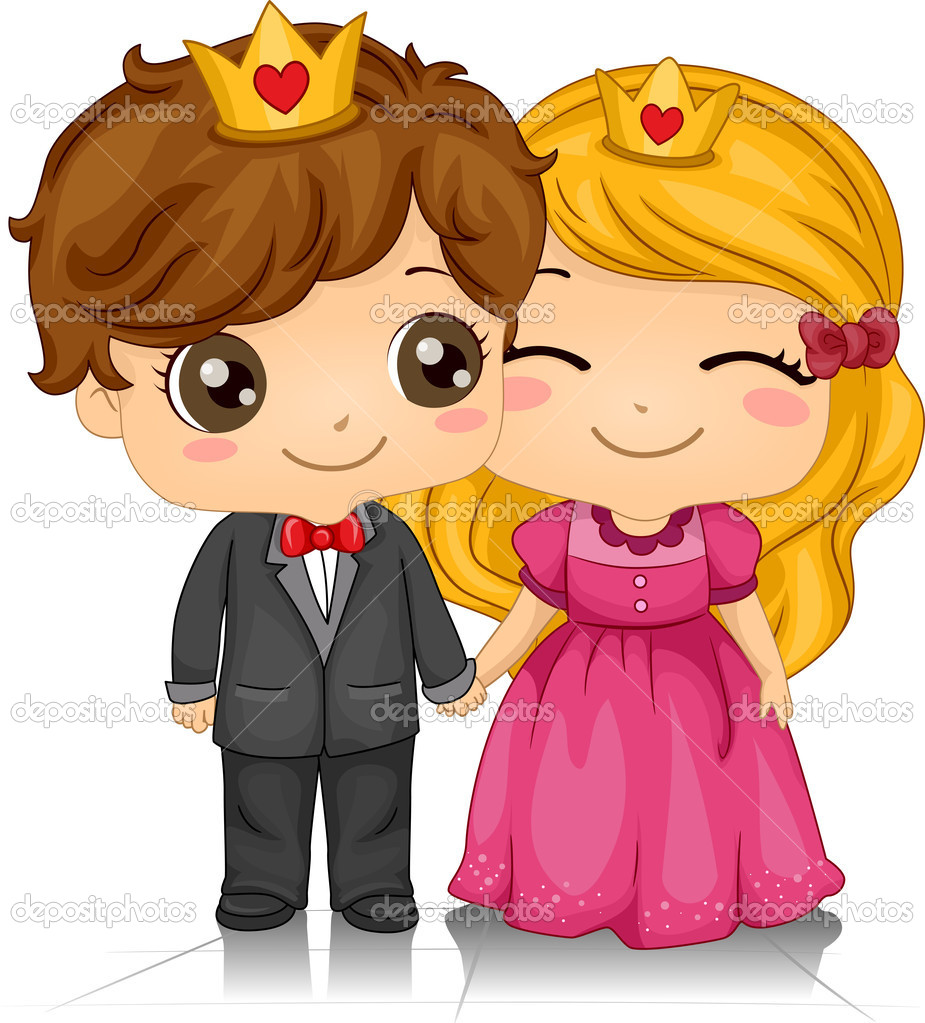Prom King And Queen Clip Art Illustration of a couple