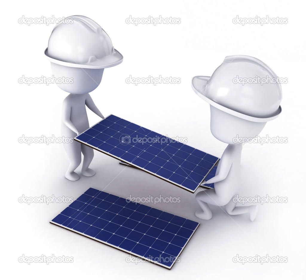 3D Illustration of Men Installing Solar Panels  Stock Photo #7476657