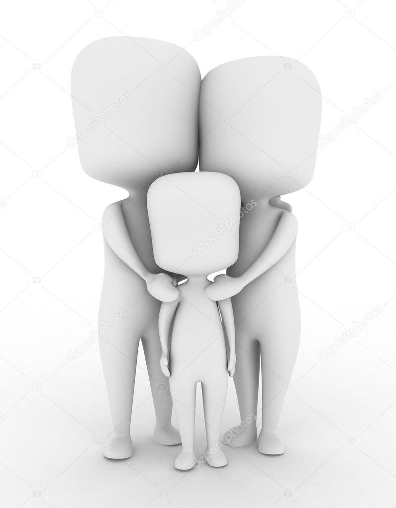 3D Illustration of a Complete Family — Stock Photo #7476897