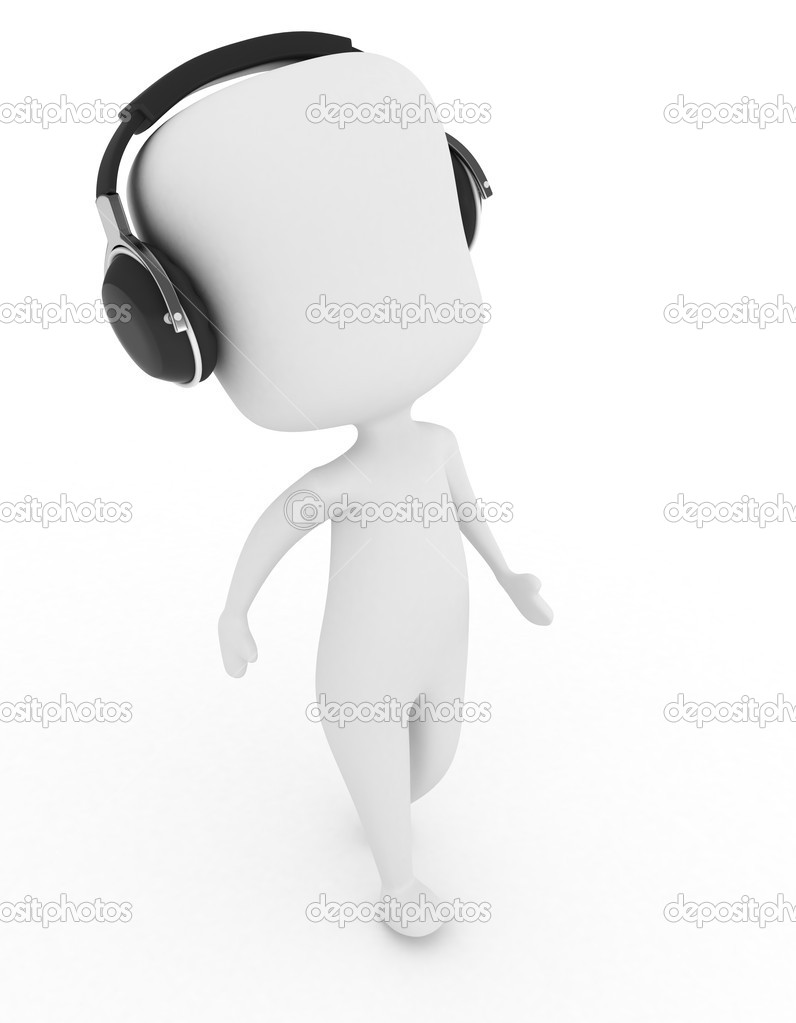 3D Illustration of a Man Moving Along to the Rhythm Coming From His Headphones — Stock Photo #7476900