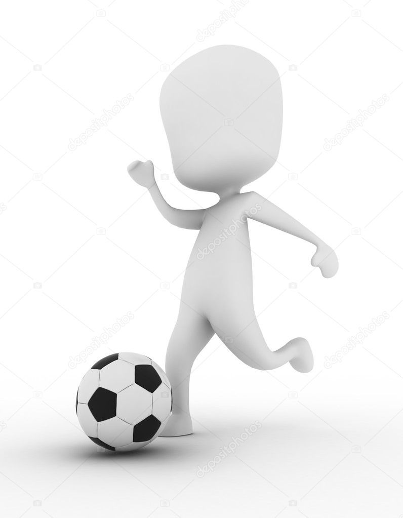 3D Illustration of a Man Kicking a Soccer Ball  Stock Photo #7476914