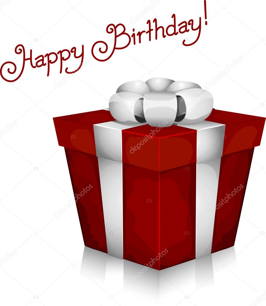 Illustration of a Gift with Birthday Greetings in the Background — Stock Photo #7477312