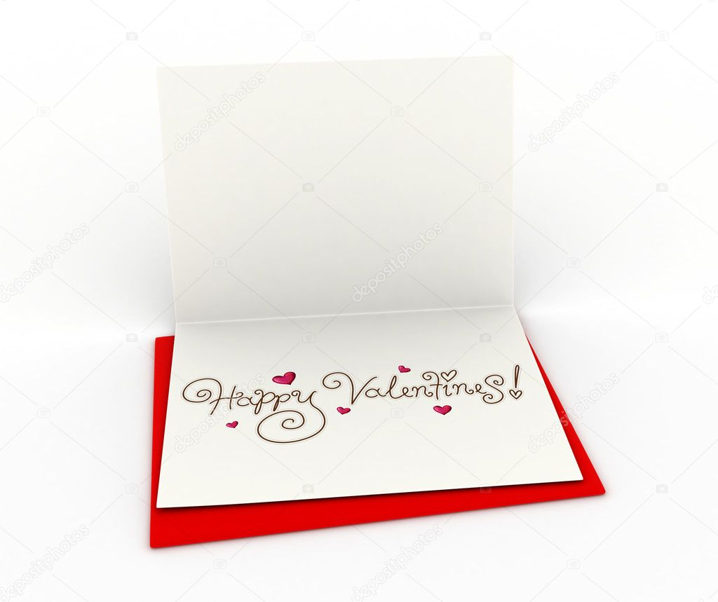 3D Illustration of a Partially Open Valentine Card — Stock Photo #7477549