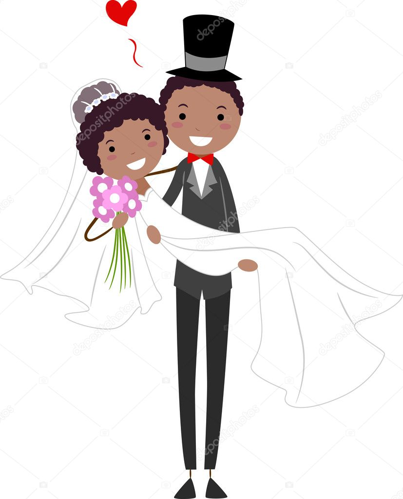 Illustration of a Groom Carrying His Bride — Stock Photo #7478088
