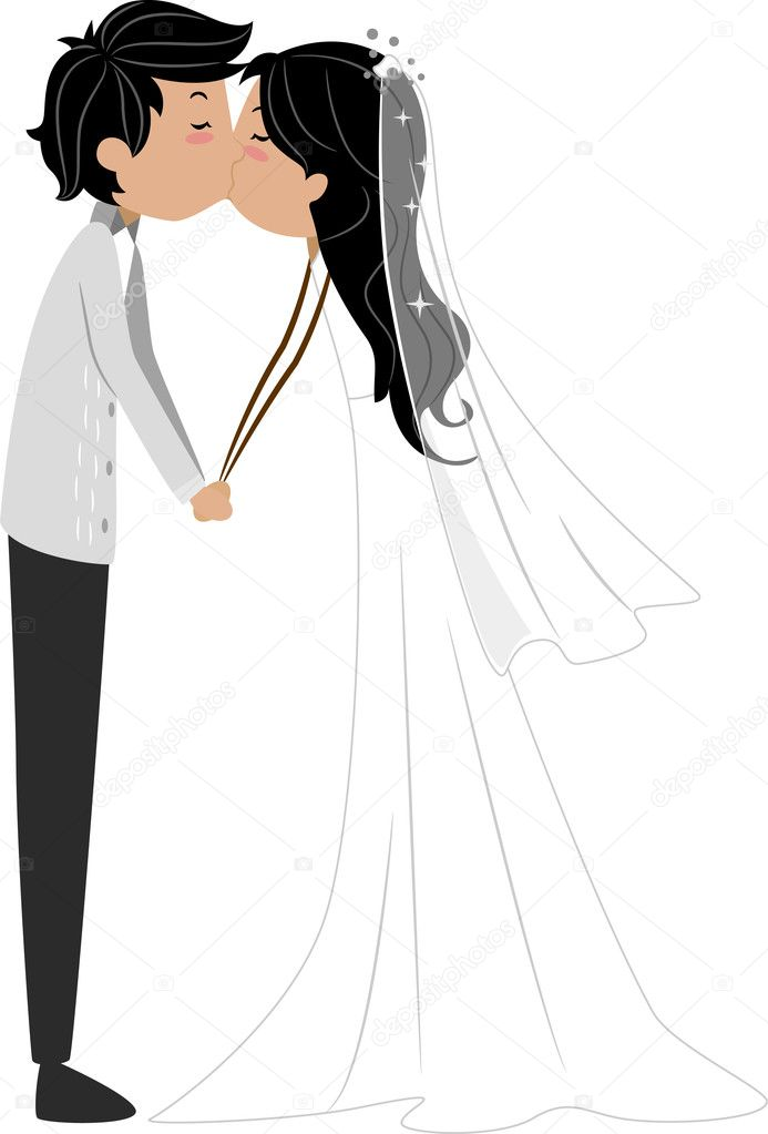 Illustration of a Newlywed Couple Sharing a Kiss — Stock Photo #7478104