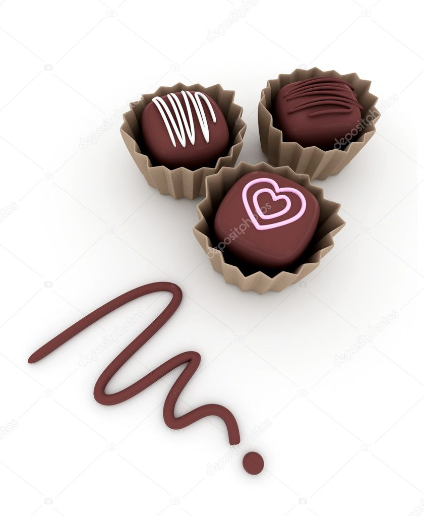 3D Illustration of Tiny Chocolates with Decorative Frostings on Top  Stock Photo #7478129