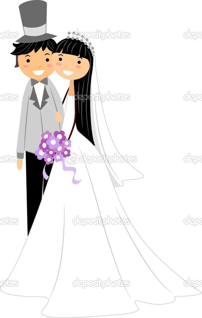 Illustration of a Newlywed Asian Couple — Stock Photo #7478356