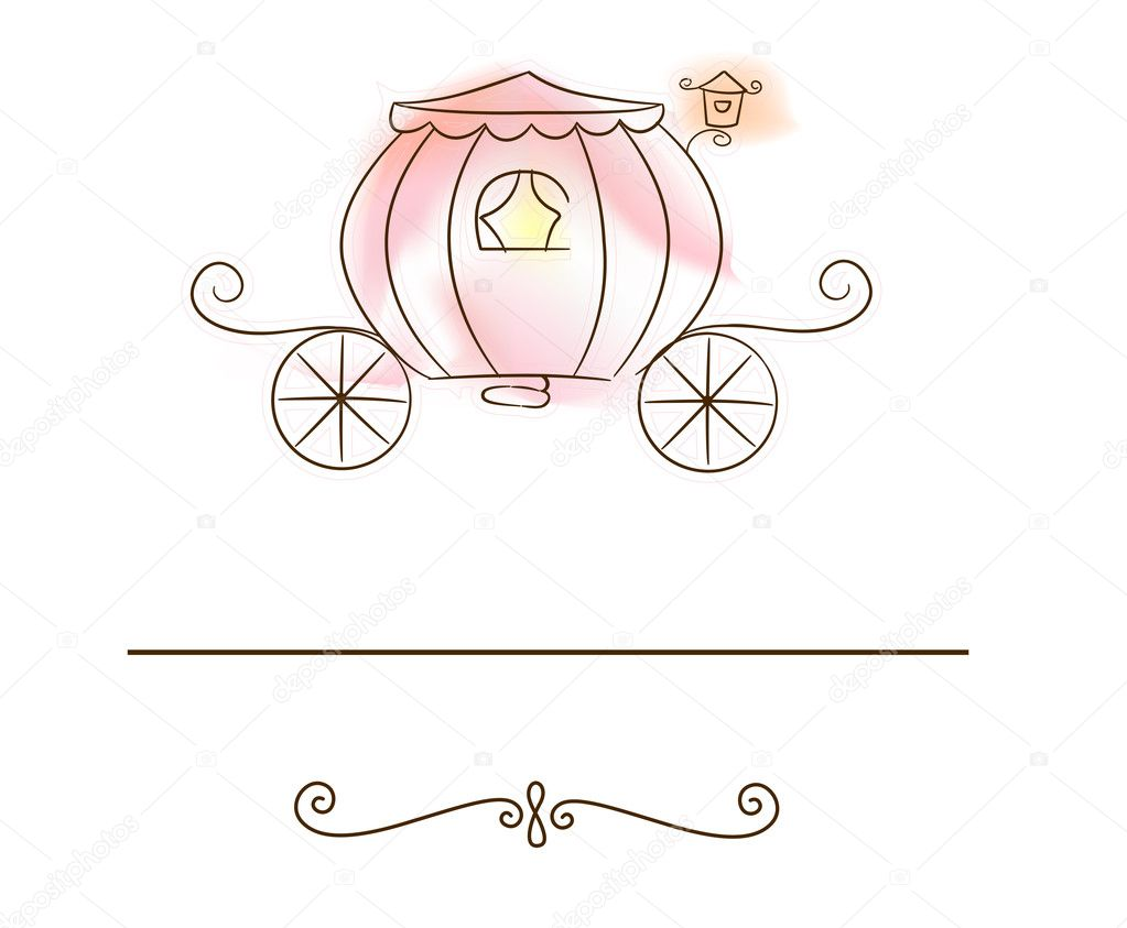 Illustration of a Wedding Card Featuring a Carriage Gradient Mesh