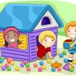 Illustration of Kids Playing in a Playhouse — Stock Photo #7507585