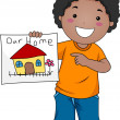 Kid Home — Stock Photo