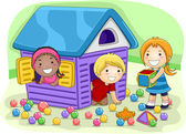 Illustration of Kids Playing in a Playhouse — Stock Photo