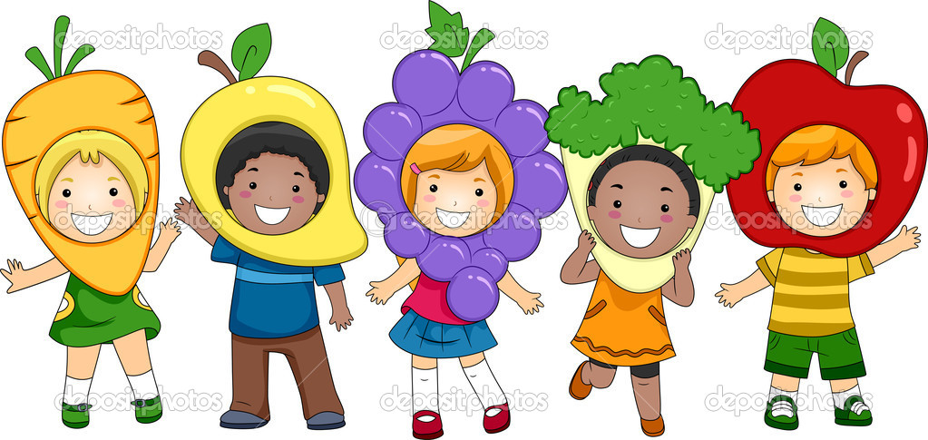 Illustration of Kids Dressed as Fruits and Vegetables — Foto Stock #7507546