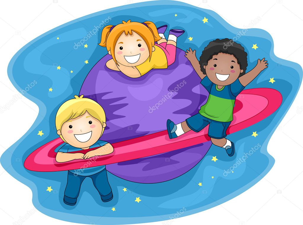 Illustration of Kids Playing in the Outer Space — Stock Photo #7507570