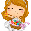 Girl Carrying Easter Basket - Stock Photo