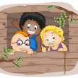 Kids in a Tree house - Stock Photo