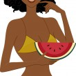 Stock Photo: Watermelon Girl
