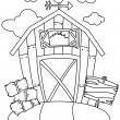 Line Art Barn House - Stock Photo