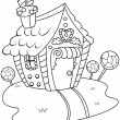Line Art Gingerbread House — Stock Photo #7599730