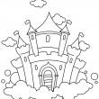 Line Art Barn Castle — Stock Photo