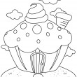 Line Art Cupcake House — Stock Photo