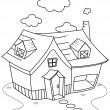 Line Art House - Stock Photo