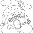Line Art Mushroom House — Stock Photo #7599784