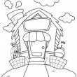 Line Art Pet House - Stock Photo