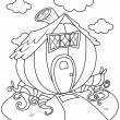Line Art Pumpkin House — Stock Photo
