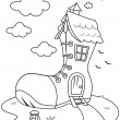 Line Art Shoe House — Stockfoto