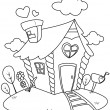 Line Art Small House — Stock Photo