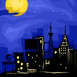 City Full Moon — Stock Photo