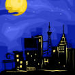 Stock Photo: City Full Moon