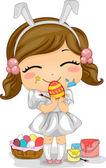 Girl Making Easter Eggs — Stock Photo