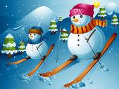 Snowman Ski — Stock Photo