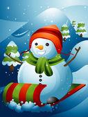 Traîneau bonhomme de neige — Photo