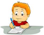孩子在纸张上书写 — 图库照片