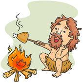 Mağara adamı cook — Stok fotoğraf
