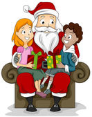 Kids and Santa — Stockfoto
