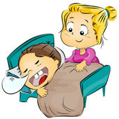 Mother Putting Her Child to Bed — Stock Photo