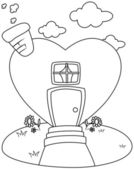 Line Art Heart-shaped House — Stock Photo