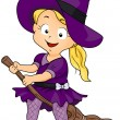 Witch on Her Broomstick — Stok fotoğraf