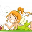 Fairy Playing with a Snail — Stok fotoğraf
