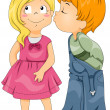 Boy Kissing Girl — Stock Photo