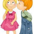 Stock Photo: Boy Kissing Girl